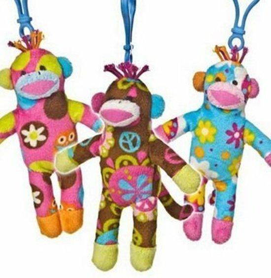 knuffel Sock Monkey Clip Ons( bruin), zeer vrolijke knuffel