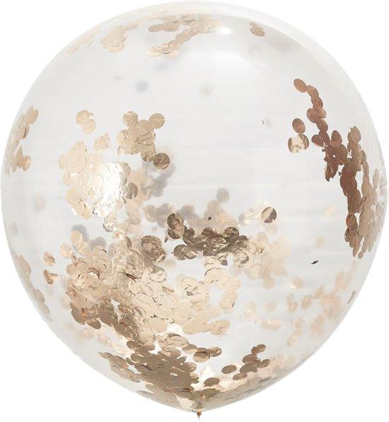 Ginger Ray Beautiful Botanics - XL ballon gevuld met rosé gouden confetti - Ø 90 cm - Set-3 Valentinaa