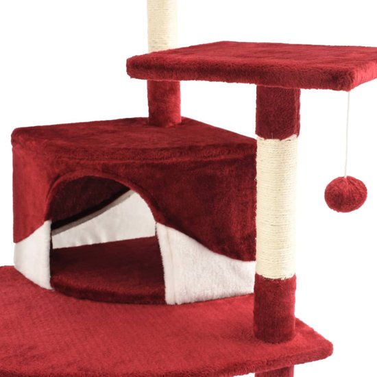 vidaXL Kattenkrabpaal met sisal krabpalen 203 cm rood en wit