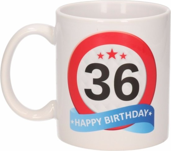 Verjaardag 36 jaar verkeersbord mok / beker