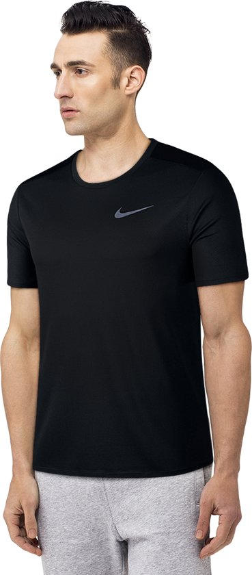 Nike Breathe Run Top Ss Sportshirt Heren - Black/Black/(Reflective Silv)