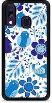 Galaxy A40 Hardcase hoesje Blue Bird and Flowers