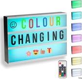 Gadgy® Lightbox A4 met 7 kleuren incl. afstandsbediening + adapter + 85 letters/symbolen – 32x22x6 cm.