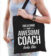 Kadotas This is what an awesome coach looks like zwart katoen - cadeau voor coaches