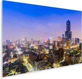Het Taiwanese Kaohsiung in Azië tijdens de nacht Plexiglas 90x60 cm - Foto print op Glas (Plexiglas wanddecoratie)