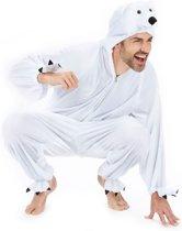 Onesie Volwassenenkostuum - Pluche IJsbeer - Kostuum - Maat XL - Carnavalskleding
