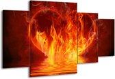 Canvas schilderij Abstract   Oranje, Bruin, Zwart   160x90cm 4Luik