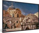 Foto in lijst - Prachtig uitzicht op de Heilig Grafkerk in Jeruzalem fotolijst zwart 60x40 cm - Poster in lijst (Wanddecoratie woonkamer / slaapkamer)