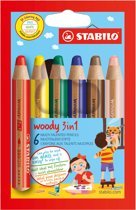 STABILO Woody 3 in 1 Kleurpotloden - Etui 6 Stuks