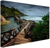Indonesische brug Canvas 180x120 cm - Foto print op Canvas schilderij (Wanddecoratie woonkamer / slaapkamer) XXL / Groot formaat!