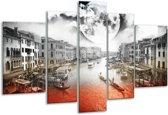 Glasschilderij Modern | Rood, Grijs, Zwart | 170x100cm 5Luik | Foto print op Glas |  F004412