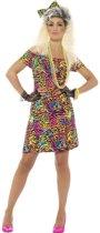Jaren 80 / 90  Fluor neon luipaard kostuum voor vrouwen | maat M ( 40 - 42 )
