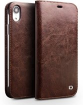Qialino - echt lederen luxe wallet hoes - iPhone XR - bruin