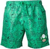 Nintendo - Mario Swimshort Green with Allover Print and Small Mushroom Head - Maat S