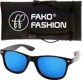 Fako Fashion® - Zonnebril - Wayfarer - Mat Zwart - Spiegel Blauw