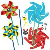 Sets met windmolentjes insect - bee/wesp lieveheerbeestje - maak je eigen creatieve speelgoed voor kinderen (6 stuks)