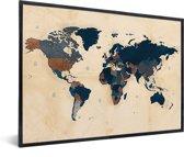 Wereldkaart Schilderij Vintage Historisch in lijst wit 60x40 cm
