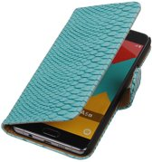 Wicked Narwal   Snake bookstyle / book case/ wallet case Hoes voor Samsung Galaxy A3 (2016) A310F Turquoise