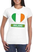 Ierland hart vlag t-shirt wit dames L