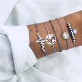 Set Armbanden Heartbeat | 5 - delig | Zilverkleurig | 18 cm