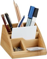 relaxdays pennenbakje bamboe - bureau organizer - bureaustandaard - houten pennenhouder