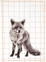 Present Time - Theedoek Grid Fox - Katoen - Wit