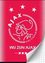 Schrift ajax rood wij zijn A4 geruit