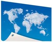 Wereldkaart wolken Tuinposter 60x40 cm
