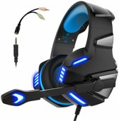Gaming Headset voor PS4 Xbox One, Micolindun Over Ear Gaming Koptelefoon met Microfoon Stereo Surround Ruisonderdrukking LED-verlichting Volumeregeling voor laptop, pc, Mac, iPad, Smartphones