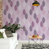 Fotobehang Purple Leaves Pattern   VEXXXL - 416cm x 254cm   130gr/m2 Vlies