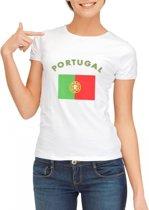 Wit dames t-shirt met vlag van Portugal Xl