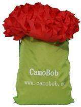 Camouflagenet 360x360cm van CamoBob zonder subnet in rood design, brandvertragend behandeld.