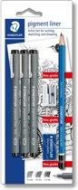 STAEDTLER Pigment liner fineliner - blister 3 st + promo