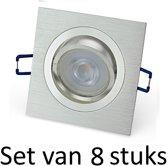 Dimbare Philips GU10 inbouwspot   Zilver vierkant   Set van 8 stuks