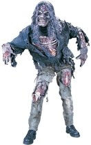 Zombiepak kostuum apocalyptisch halloween met handschoenen, masker en pruik - grijs eng skelet horror festival