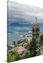 Uitzicht op de oude stad van Kotor in Montenegro Canvas 90x140 cm - Foto print op Canvas schilderij (Wanddecoratie woonkamer / slaapkamer)