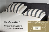 Cevilit Hoeslaken Split topper jersey hoeslaken (ECRU)  + stretch molton 180 x 200-220. Combi-voordeelpak