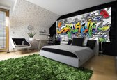 Fotobehang Graffiti | Grijs, Geel | 250x104cm
