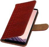 Rood slang design book case voor Samsung Galaxy S8 hoesje