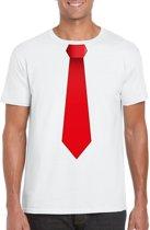 Wit t-shirt met rode stropdas heren L