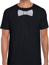 Zwart fun t-shirt met vlinderdas in glitter zilver heren - shirt met strikje S