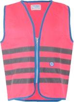 Wowow Veiligheidshesje kind met rits EN 1150 - Fun Fietsjas  - Maat S  - Unisex - roze/blauw/zilver