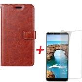 Huawei Y6 2018 Portemonnee hoesje bruin met Tempered Glas Screen protector