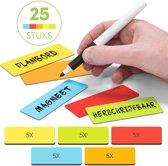 25 Herschrijfbare Balk magneten 7,5 cm Mix 5 Kleuren (Rood, Oranje, Geel, Groen, Blauw)