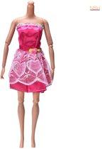 Korte Rode jurk met kant voor de Barbie pop