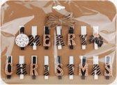 Kerstkaart knijpers goud/wit/zwart - kerstknijpers