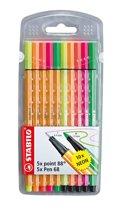 Stabilo Pen 68 Viltstiften / Stabilo Fineliner point 88, Neon mix etui á 10 stuks.