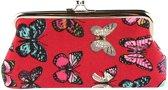 Fashionidea – Mooie rode beurs van stevig katoen met leuke vlinder print en een knipsluiting.