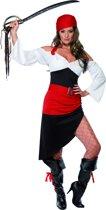 Piratenkostuum in rood-zwart | Verkleedkleding dames maat M (40-42)