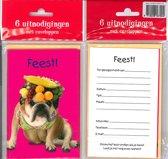 12 Uitnodigingskaartjes met envelop - Hond fruit - 9 x 13.5 cm